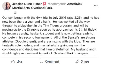 Jessica Dunn Fisher, AmeriKick Martial Arts Overland Park KS